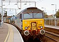 57 310 & 57 303 bring the Stowmarket-Clacton-Stowmarket RHTT working through Hythe station to a stop at Eastgates East Junction, before proceeding over the triangle towards Colchester North . Saturday 25th Oct 2014 - 15625459502.jpg