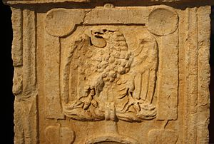 Gravestone for Roman soldier, showing the vexi...