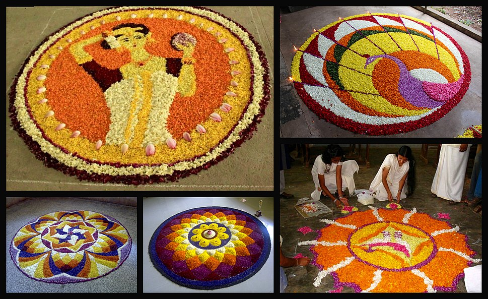 5 image collage of floral arrangement during the Hindu festival of Onam Kerala