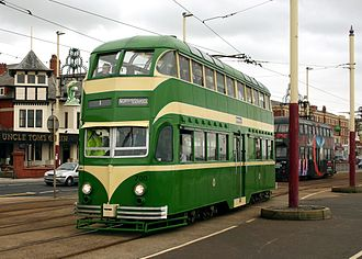 Double-decker tram - Double-decker balloon tram No 700, restored to wartime livery passing No 720 at Bispham, Blackpool