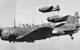 Amchitka Air Force Base - A-24 Banshee dive bombers of the 635th Bombardment Squadron carrying out an attack on Kiska Island on August 4, 1943