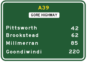 Gore Highway - Approximate road distances (in kilometres) of towns from Toowoomba along the highway