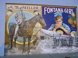 Azariel Blanchard Miller - A.B. Miller on horseback as depicted in an outdoor mural in downtown Fontana, California