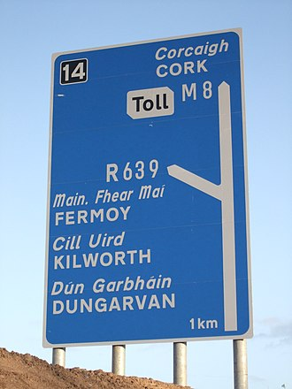 """Motorway (typeface) - Motorway font in use on a directional sign on an Irish motorway. Note the """"R"""" in Transport font."""
