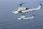 AH-1W Super Cobras of VMM-264(Rein) in flight over the Atlantic Ocean in May 2016.JPG