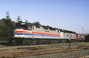 Amtrak paint schemes - Amtrak's livery has included a variety of designs, most based on a red, white, and blue color scheme. These locomotives are SDP40Fs. The lead locomotive here is in Phase II livery, while the trailing locomotive is still in Phase I.