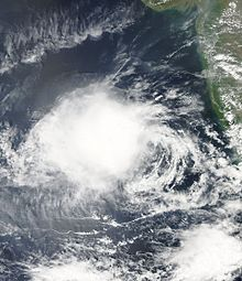 A satellite image of a disorganized Depression ARB 03 (03A) over the Arabian Sea, off the Indian coast on 9 October