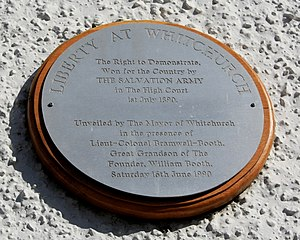 Whitchurch, Hampshire - Plaque in The Square, commemorating liberty at Whitchurch won by The Salvation Army in 1890.