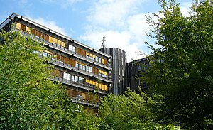 "University of Osnabrück - University on the ""Westerberg"", ""AVZ Building"", housing (among others) the Institute of Computer Science and the library of mathematics and science"