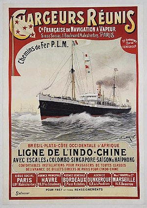 Chargeurs - Early 20th-century poster advertising Chargeurs Réunis' passenger liner routes, emphasising that to French Indochina via the Indian Ocean. The picture is from a painting by Alexandre Jean-Baptiste Brun.
