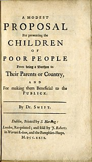 <i>A Modest Proposal</i> 1729 satirical essay by Jonathan Swift
