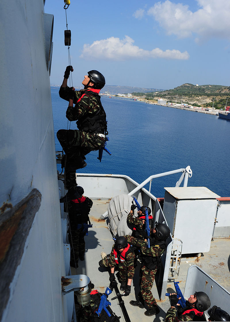 A Moroccan sailor ascends a ladder while conducting a boarding exercise aboard the training ship HS Aris (A 74) at the NATO Maritime Interdiction Operational Training Center in Souda Bay, Greece, May 10, 2012 120510-N-QD416-079.jpg