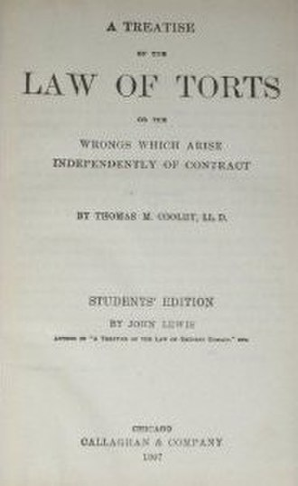 Thomas M. Cooley - Image: A Treatise on the Law of Torts