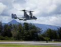 A U.S. Marine Corps MV-22 Osprey tiltrotor aircraft assigned to Marine Medium Tiltrotor Squadron (VMM) 266 takes off during a demonstration at Marine Corps Base Hawaii, Kaneohe Bay, Hawaii, Aug. 29, 2013 130829-M-QH615-003.jpg