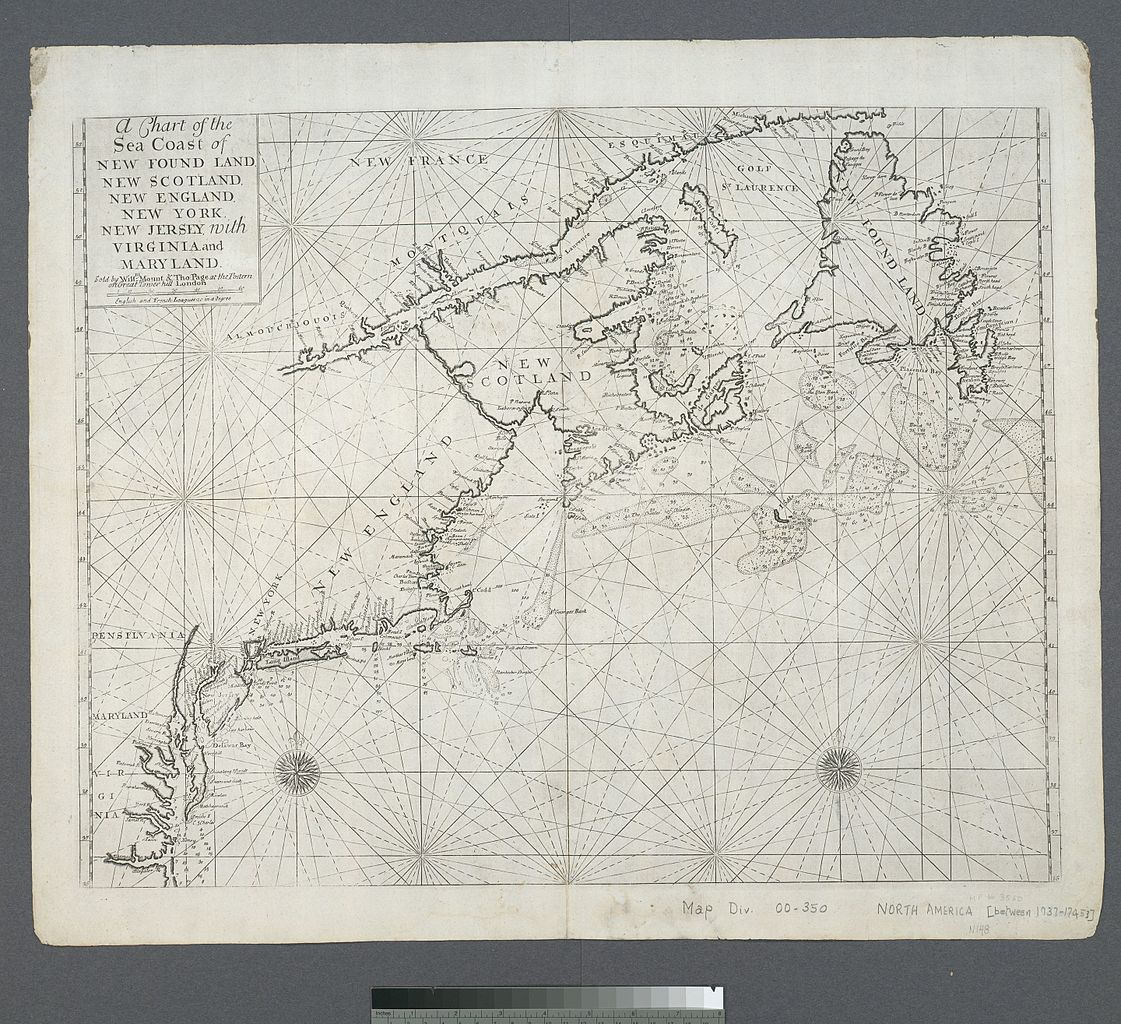 Sea Chart: A chart of the sea coast of New Foundland New Scotland New ,Chart