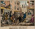 A crowded street in London. Coloured etching by G. Cruikshan Wellcome V0050202.jpg