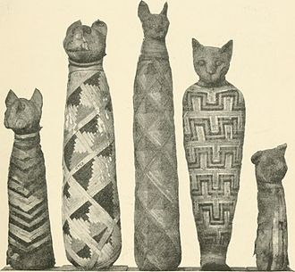 Cats in ancient Egypt - Image: A guide to the third and fourth Egyptian rooms predynastic antiquites, mummied birds and animals, portrait statues, figures of gods, tools, implements and weapons, scarabs, amulets, jewellery, and (14771092033)