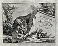 A lion leaning on some classical remains. Engraving by M De Wellcome V0021502.jpg