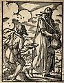 A poor man on crutches accosting a traveller. Woodcut by J. Wellcome V0020316.jpg