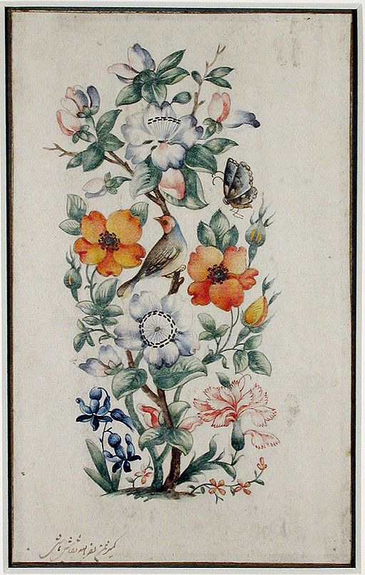 A stalk of flowers with a bird and a butterfly