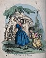 A woman has a crying child on her shoulder and another child Wellcome V0040043.jpg