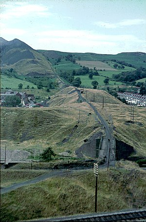 Aberfan Disaster Tribunal - Aberfan Colliery spoil tramway before the disaster, with spoil heaps at top left. The red brick building at mid left is Pantglas County Secondary School.