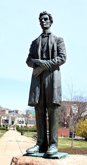 Lytle Park Historic District - Statue of Lincoln with the park and the Taft Museum visible in the background