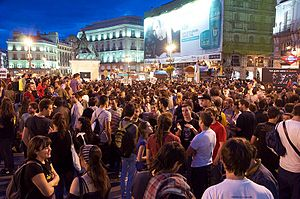 Anti-austerity movement in Spain - The night of 17 May in Puerta del Sol