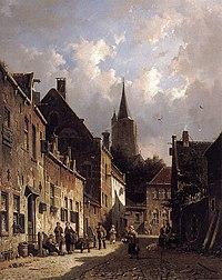 Adrianus Eversen - A Dutch Street Scene.jpg