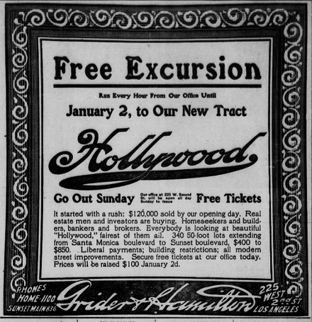 Newspaper advertisement for Hollywood land sales, 1908 Advertisement for Hollywood, California, land sales, 1908.png