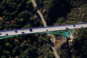 Cold Spring Canyon Arch Bridge - Image: Aerial Cold Spring Cyn Bridge