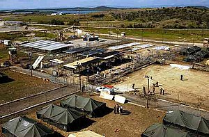 Camp X-Ray (Guantanamo) - Camp X-Ray, shown here under construction, was a temporary holding facility for detainees held at U.S. Naval Base Guantanamo Bay, Cuba.
