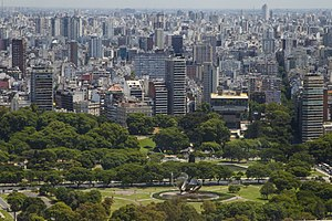 Recoleta, Buenos Aires - Southwestward view of Recoleta in 2014, overlooking Floralis Genérica and the National Library.