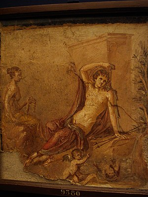 Echo and Narcissus - Narcissus and Echo, wall painting from Pompeii (45–79 AD)