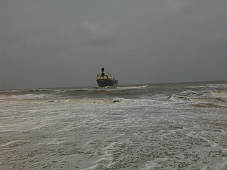 Foreshore Estate - Image: Aftermath of Cyclone Nilam A ship pushed to shore Foreshore Estate
