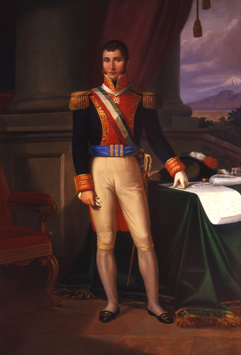 Oil painting of Agustin de Iturbide, leader of independence who was declared Emperor Augustin I, in 1822 following independence Agustin de Iturbide Oleo Primitivo Miranda.png