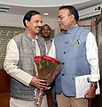 Ajay Chandrakar calls on the Minister of State for Culture (Independent Charge), Tourism (Independent Charge) and Civil Aviation, Dr. Mahesh Sharma, in New Delhi on November 21, 2014.jpg