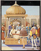 Akbar receives an embassy sent by Queen Elizabeth