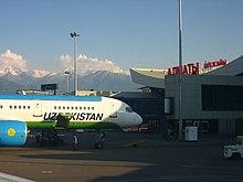 Uzbekistan airways boeing 757-200 at almaty international airport