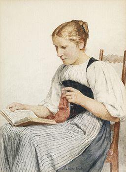 Albert Anker - Strickendes Mädchen beim lesen (1907)
