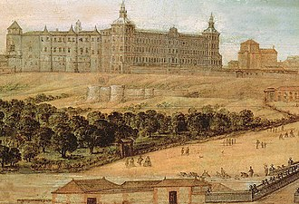 Royal Alcazar of Madrid - 17th-century painting of the Real Alcázar de Madrid. The southern facade (right) appears in its final 1636 phase by the architect Juan Gómez de Mora. The west facade (left) is from a much older structure, possibly the earliest Muslim castle which formed the basis for the different extensions later undertaken.