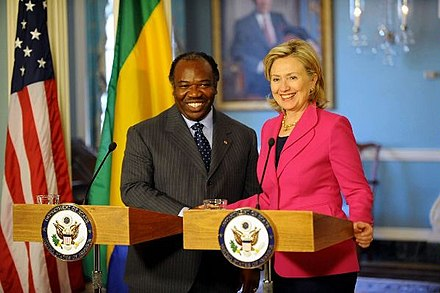 Ali Bongo meets United States Secretary of State Hillary Clinton. Ali Bongo Ondimba and Hillary Clinton.jpg