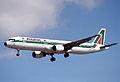 Alitalia Airbus A321; I-BIXG@LHR;04.04.1997 (5216922999).jpg