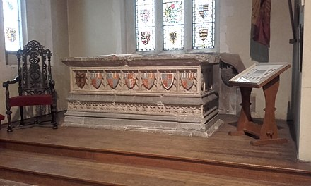 The tomb of Edmund of Langley in All Saints' Church, Kings Langley. The tomb was brought to the church in 1575 after the nearby King's Langley Priory had been dissolved. All Saints Kings Langley Edmund tomb 2018.jpg