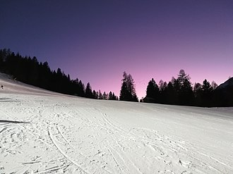World Junior Alpine Skiing Championships 2019 - Sunset photographed from skistadium Aloch in Pozza di Fassa (Italy)