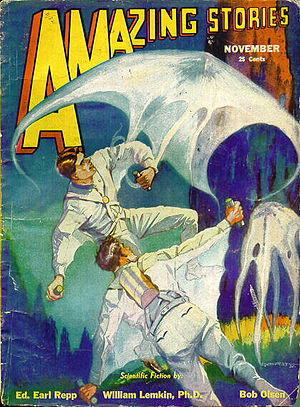 """Bob Olsen - Olsen's novelette """"Captain Brink of the Space Marines """" was the cover story in the November 1932 Amazing Stories"""