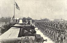 American flag raised over Fort Santiago 8-13-1898.jpg
