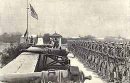 American flag raised over Fort Santiago 8-13-1898