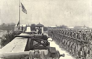 Siege of Santiago - American flag raised over Fort Santiago, July 13, 1898