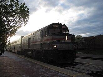 Kalamazoo Transportation Center - Image: Amtrak Blue Water sunset